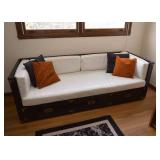 SOLD--LOT #220, Vintage Sofa Bed with Storage Drawers, $120