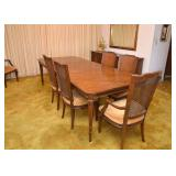 BUY IT NOW!  LOT #402, Vintage Dining Room Table with 2 Leaves & 6 Chairs, $300