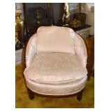 SOLD--LOT #409, Pair of White Upholstered Armchairs (Asian Motif), $60 Each,$120 for the Pair