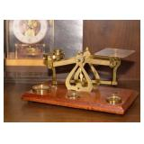 SOLD--LOT #420, Brass Balance Scale (Postage) with Weights, $35