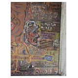 "Kingston Mines Chicago Blues Folk Art Window Artwork (Approx. 28"" W x 34.25"" L including frame)"