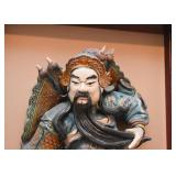 "Antique Chinese Roof Tile Warrior Figure, Framed (Approx. 19.25"" W x 28.25"" H including frame)"