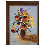 "Still Life Oil Painting, Signed Ruiz (Approx. 15"" L x 19"" H including frame)"