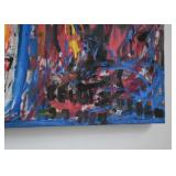 "Large Abstract Painting, Signed (Approx. 46"" L x 33"" H)"