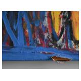 "Damage Shown Here - Large Abstract Painting, Signed (Approx. 46"" L x 33"" H)"