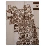 "Chicago Neighborhoods Wood Wall Hanging (Approx. 21"" L x 28"" H)"