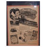 """Vintage Lionel Trains Advertisement, Framed (Approx. 15.75""""L x 19"""" H including frame)"""
