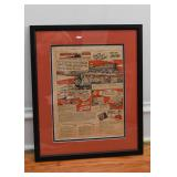 "Vintage American Flyer Trains Advertisement, Framed (Approx. 15.75""L x 19"" H including frame)"