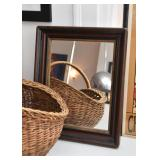 Vintage Wood Framed Wall Mirror (Approx. 14.5 L x 17.25 H)