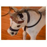 "Antique Rolling Horse Toy (Real fur, missing one ear, approx. 29"" L x 29.5"" H)"