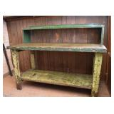 Industrial Work Table / Potting Bench (Metal & Wood)