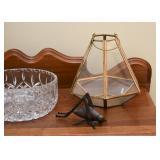 Cast Iron Grass Hopper, Brass & Glass Terrarium