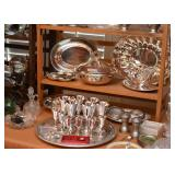 Silver Plate Serving Pieces, Goblets, Trays, Etc.