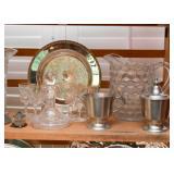 Glassware, Silver Plate, Pewter Creamer & Sugar