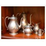Pewter Teapot, Coffee Pot, Creamer & Sugar