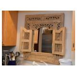 Wood Framed Wall Mirror with Shutters