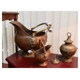 Copper Coal Scuttles, Brass Lantern
