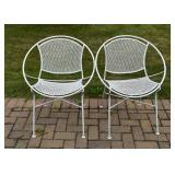 White Painted Outdoor / Garden / Patio Circle Chairs