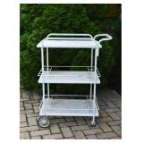 White Painted Outdoor / Garden / Patio Serving Cart