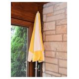 Yellow & White Patio / Garden Umbrella