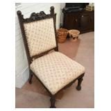 Antique Wooden Upholstered Chair with Gargoyle & Nailhead Trim