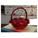 Vintage Red Glass Basket Bowl