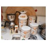 Kitchen Canisters, Coffee Pot, Scales