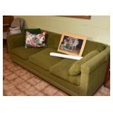 Green 3-Seat Sofa, Throw Pillows, Unframed Artwork