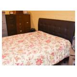 Queen Size Black Upholstered Headboard, Bed Frame, Mattress & Box Spring
