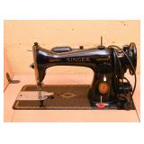 Vintage Singer Sewing Machine with Work Table / Cabinet