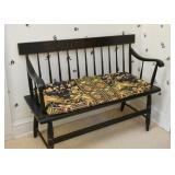 Black Spindle Bench with Cushion