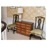Set of 4 Antique Chairs with Gilt Detail, 12 Drawer Chest of Drawers