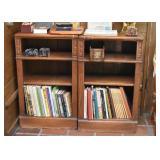 Vintage Oak Book Shelves with Acorn Motif