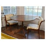 Oval Pedestal Dining Table, Pair of Upholstered Dining Chairs