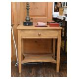 Light Wood Tone End Table with Drawer