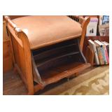 Small Wood Bench with Upholstered Seat and Storage Compartment Underneath