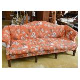 Vintage Camelback Sofa with Asian Inspired Upholstery