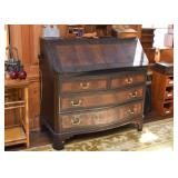 Antique / Vintage 3-Drawer Secretary with Inlaid Wood Accents