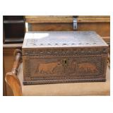Carved Wood Box,  Animal Motif