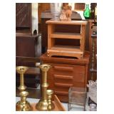 Brass Candlesticks, Small Wooden Chest of Drawers, Etc.
