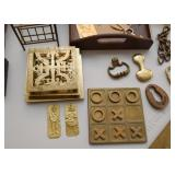 Brass Trivets, Tic-Tac-Toe Game, Hardware, Etc.