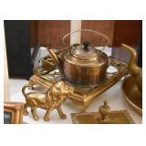 Brass Lion Figurine, Teapot, Trivet, Etc.