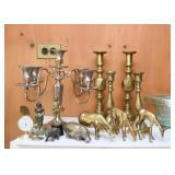 Brass Candlesticks & Figurines, Silver Plate Candelabra
