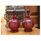 Etched Cranberry Glass Bottles with Stoppers