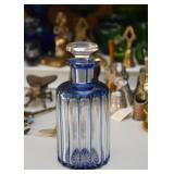 Vintage Cobalt Blue & Clear Glass Perfume Bottle