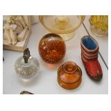 Various Vintage Colored Glass / Glassware, Paperweights, Miniature Boot