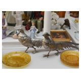 Silver Plate Pheasant Figurines, Amber Glass Plates