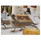 Silver Plate Pheasant Figurines