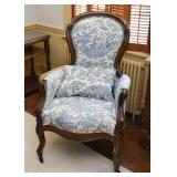 Pair of Antique Wood Carved Parlor Chairs with Blue Toile Upholstery