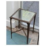 End Table with Iron Base & Glass Top